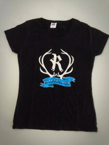 Black t-shirt with a large Rovaniemi roller derby logo on chest