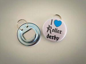 Keychain with Rovaniemi roller derby logo, bottle opener behind