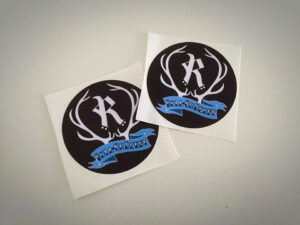 Black sticker with Rovaniemi roller derby logo