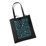 Black tote bag with roller derby themed blue print
