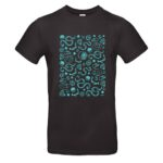 Black t-shirt with roller derby themed blue print on chest