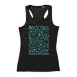 Sleeveless sports top, lady fit, black with blue roller derby themed print on chest